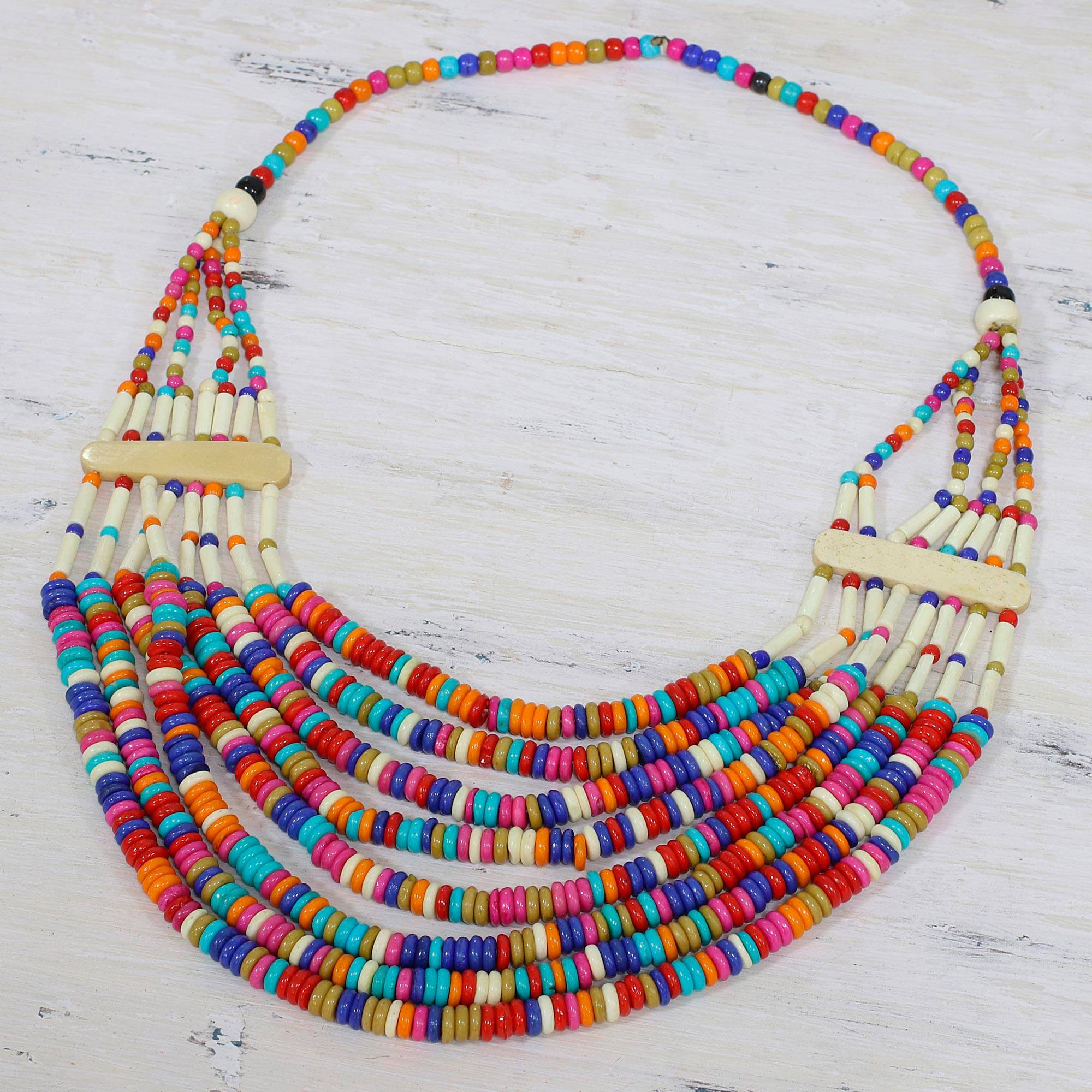 Ecstatic Celebration Colorful Beaded Bone Statement Necklace from India The Perfect Necklace