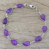 Sterling silver link bracelet, 'Purple Cascade' - Sterling Silver and Purple Composite Turquoise Link Bracelet