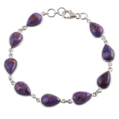 Artisan Crafted Composite Purple Turquoise Sterling Silver Link Bracelet