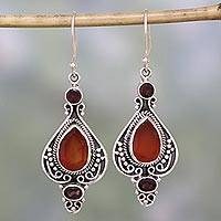 Carnelian and garnet dangle earrings, 'Fiery Glow' - Carnelian Garnet and Sterling Silver Indian Dangle Earrings