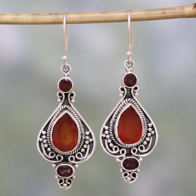 Carnelian And Garnet Dangle Earrings Fiery Glow Sterling Silver