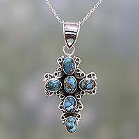 Sterling silver pendant necklace, 'Skyward Faith' - 925 Silver and Composite Turquoise Indian Cross Necklace