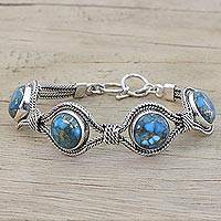 Sterling silver link bracelet, 'Heavenly Blues' - Sterling Silver and Composite Turquoise Link Bracelet