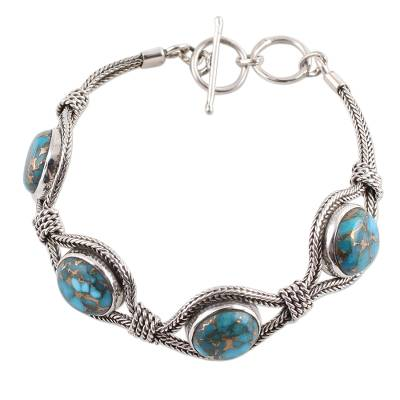 Sterling Silver and Composite Turquoise Link Bracelet