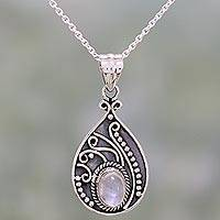 Rainbow moonstone pendant necklace, 'Raindrop Glow' - Rainbow Moonstone and Sterling Silver Pendant Necklace