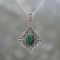 Malachite pendant necklace, 'Green Starlight' - Malachite and Sterling Silver Pendant Necklace from India