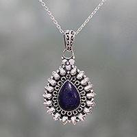 Lapis lazuli pendant necklace, 'Corona Drop' - Lapis Lazuli and Sterling Silver Pendant Necklace from India