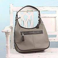 Leather hobo bag, 'Blissful Taupe' - Artisan Handcrafted Leather Hobo Bag in Taupe from India