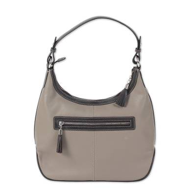 Artisan Handcrafted Leather Hobo Bag in Taupe from India