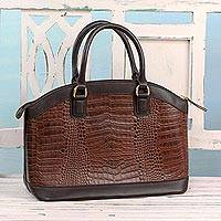 Leather handle handbag, 'Chestnut Majesty' - Handcrafted Leather Handle Handbag in Chestnut from India