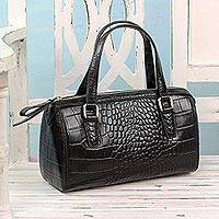 Leather baguette handbag, 'Classic Ebony' - Handcrafted Croc Texture Leather Baguette in Black