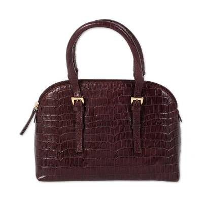 Handcrafted Leather Handle Handbag in Cordovan from India