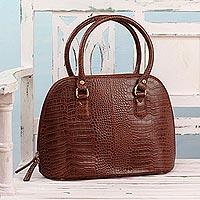 Novica Leather handle handbag, Urban Chic