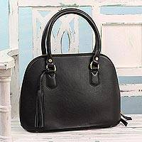 Leather handle handbag, 'Urban Dweller' - Handcrafted Black Leather Handle Handbag from India