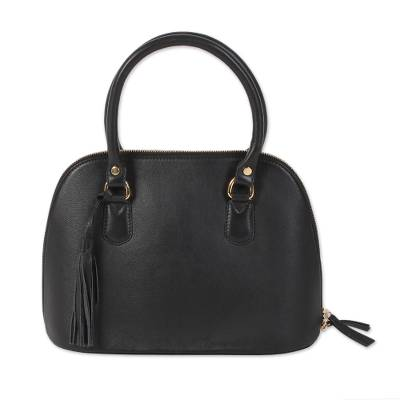 Handcrafted Black Leather Handle Handbag from India