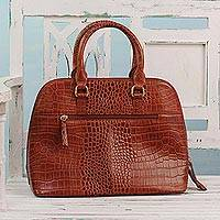 Leather handle handbag, 'Princess of Delhi' - Handcrafted Brown Leather Handle Handbag from India