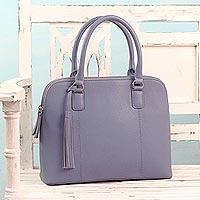 Leather handle handbag, 'Morning Commute' - Light Blue Leather Handle Handbag from India