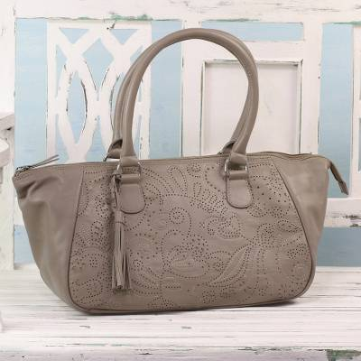d0e44f2c96 Leather handbag, 'Jali Elegance' - Taupe Nappa Leather Handbag with Floral  Design from