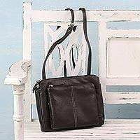 Leather sling bag, 'Brown Fantasy' - Espresso Multi-Compartment Leather Shoulder Bag from India