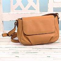Leather sling bag, 'Modern Elegance in Ginger' - Handcrafted Ginger Leather Sling Bag from India