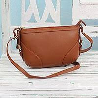 Leather shoulder bag, 'Modern Style in Russet' - Brown Leather Shoulder or Sling Bag from India