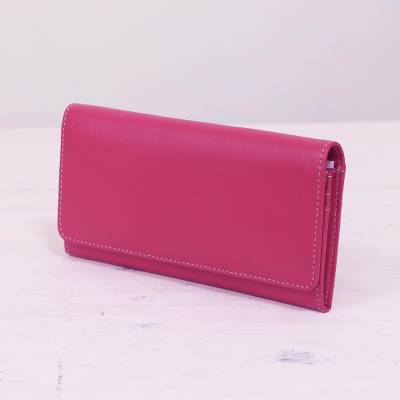 Leather wallet, 'Strawberry Desire' - Hand Crafted Strawberry Nappa Leather Wallet from India