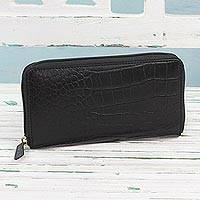 Leather wallet, 'Evening in Kolkata in Black' - Handcrafted Black Leather Zippered Wallet from India