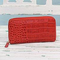 Leather wallet, 'Evening in Kolkata in Red' - Handcrafted Red Leather Zippered Wallet from India