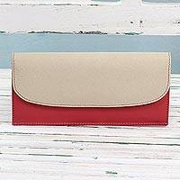 Leather wallet, 'Sleek Beauty in Strawberry' - Strawberry and Ecru Leather Wallet from India