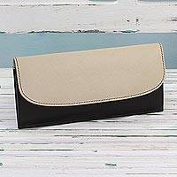 Leather wallet, 'Sleek Beauty in Black' - Black and Ecru Leather Wallet with Snap Closure from India