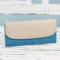 Leather wallet, 'Sleek Beauty in Turquoise' - Turquoise Blue and Ecru Leather Wallet from India