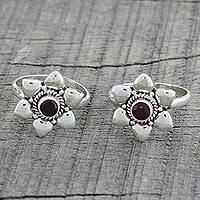 Garnet toe rings, 'Floral Gleam' (pair) - Pair of Floral Garnet and 925 Silver Toe Rings from India