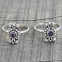 Amethyst toe rings, 'Dotted Beauties' (pair) - Pair of Dotted Amethyst and 925 Silver Toe Rings from India