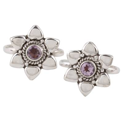 Amethyst toe rings, 'Floral Gleam' (pair) - Two Floral Amethyst and 925 Silver Toe Rings from India