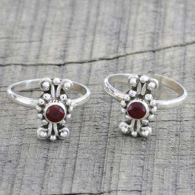 Garnet toe rings, 'Dotted Beauties' (pair) - Pair of Dotted Garnet and 925 Silver Toe Rings from India