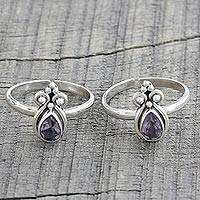 Amethyst toe rings, 'Lilac Drops' (pair) - Two Teardrop Amethyst and 925 Silver Toe Rings from India