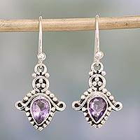 Amethyst dangle earrings, 'Dotted Delight' - Amethyst and Sterling Silver Teardrop Earrings from India