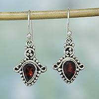 Garnet dangle earrings, 'Dotted Delight' - Garnet and Sterling Silver Teardrop Earrings from India