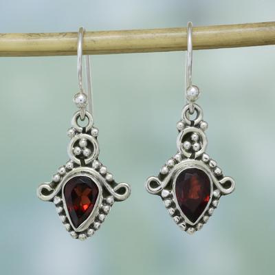 Garnet Dangle Earrings Dotted Delight And Sterling Silver Teardrop From