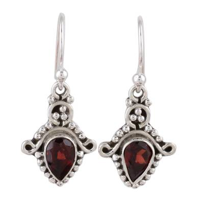 Garnet and Sterling Silver Teardrop Earrings from India