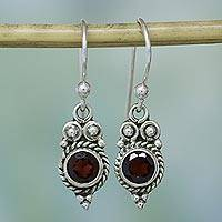 Garnet dangle earrings, 'Sunset Ropes' - Garnet and Sterling Silver Dangle Earrings from India