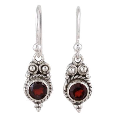 Garnet dangle earrings, 'Sunset Ropes' - Garnet and Sterling Silver Dangle Earrings from India