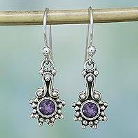 Amethyst dangle earrings, 'Lilac Dots' - Amethyst and Sterling Silver Dot Motif Earrings from India