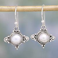 Cultured pearl dangle earrings, 'Incandescence'