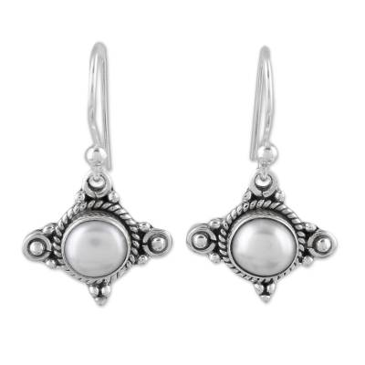 Cultured pearl dangle earrings, 'Incandescence' - Cultured Pearl and Sterling Silver Earrings from India