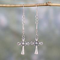 Sterling silver dangle earrings, 'Radiant Faith' - Handcrafted Sterling Silver Cross Dangle Earrings from India
