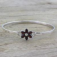 Garnet pendant bracelet, 'Marquise Flower' - Garnet and Sterling Silver Floral Bracelet from India