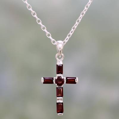 Garnet pendant necklace, 'Deep Crimson Cross' - Garnet and Sterling Silver Cross Necklace from India