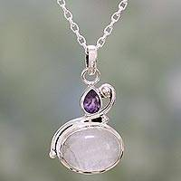 Rainbow moonstone and amethyst pendant necklace, 'Lilac Romance' - Rainbow Moonstone and Amethyst Pendant Necklace from India