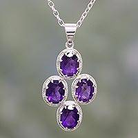 Amethyst pendant necklace, 'Morning Lilac' - Amethyst and Sterling Silver Pendant Necklace from India